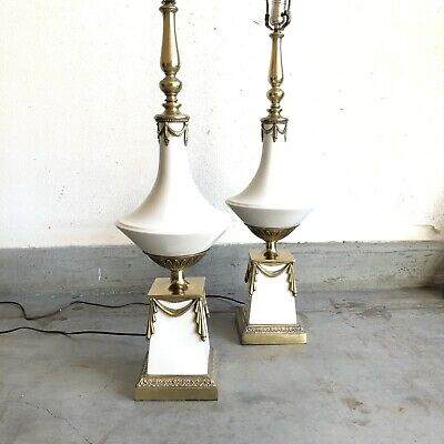"""Pair Hollywood Regency Large White / Brass Table Lamps Mid Century Vintage 41"""""""