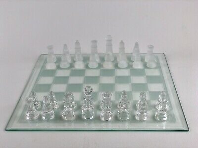 """12x12"""" Inch Glass Chess Set Elegant Pieces Board Game Clear And Frosted Glass"""