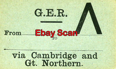 Great Eastern Railway Luggage Label - GER From to via Cambridge & Gt. Northern