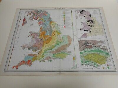 100% Original Large Geological England Wales Map By Bartholomew C1903 Vgc