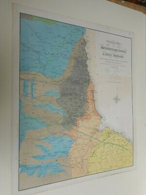100% Original Large Geological Northumberland Coal  Map By Phillips C1880 Vgc