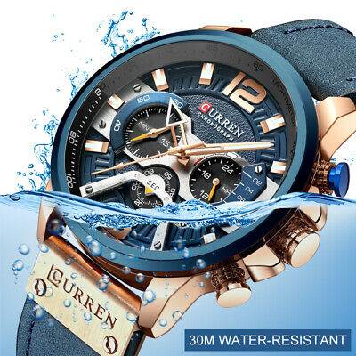 Casual Sport Watches for Men Blue Military Leather Chronograph Wristwatch