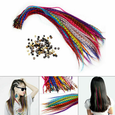 35 Synthetic Feather Hair Extension Sets Feathers+1 Plier+100 Beads+ Hook Gift