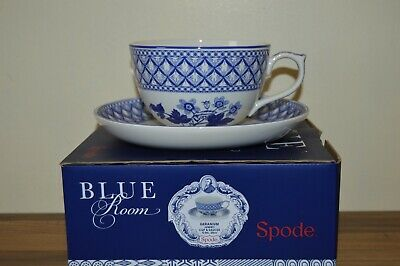 Spode Blue Room Geranium Jumbo 20 oz Breakfast Cup & Saucer - Boxed