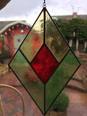 48698cec1cf9 STAINED GLASS SUNCATCHER Red Heart Gift Tiffany Style (Handmade ...