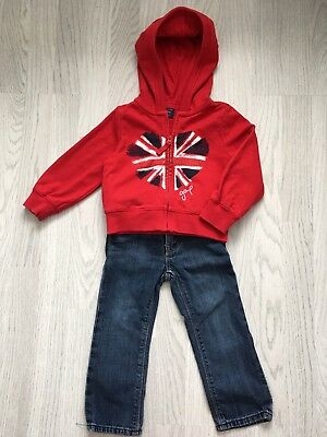 Baby Gap Girls Hoodie & Jeans Outfit Bundle Age 2