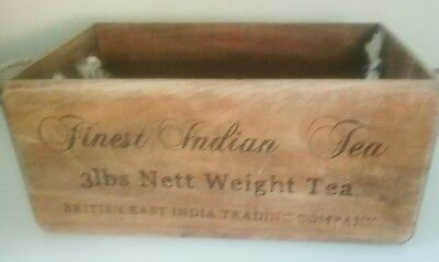 Handmade Vintage Style Antiqued Crate Box with Rope Handles. Finest Indian Tea