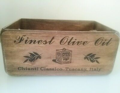 Handmade Vintage Style Antiqued Crate Box with Rope Handles. Finest Olive Oil