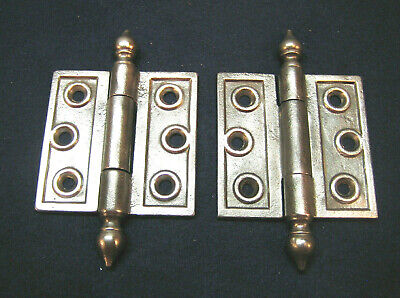 """Pair Antique Victorian Cast Iron Eastlake 3 X 3"""" Steeple Finial Hinges 1880's"""