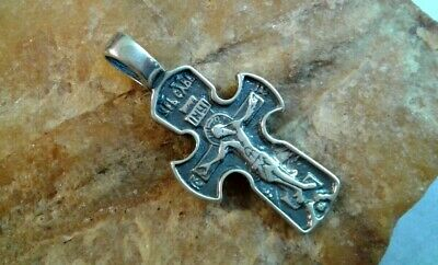 "STERLING SILVER ""925"" SMALL ORTHODOX CRUCIFIX with PSALM 68 ""EXORCISM"""