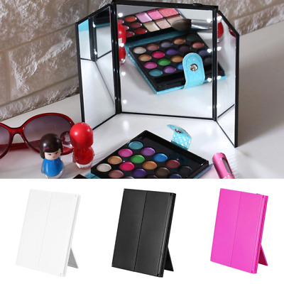 Foldable Tri-Fold with stand 8 LED Cosmetic Makeup Pocket Travel Mirror UK Comp