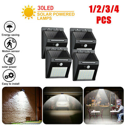 30/48 LED Solar Powered PIR Motion Sensor Security Lights Garden Outdoor Lamp