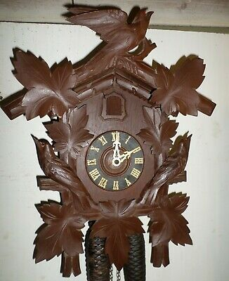 Nice Rare Antique Welby German Black Forest 8 Day Carved 3 Bird Cuckoo Clock!