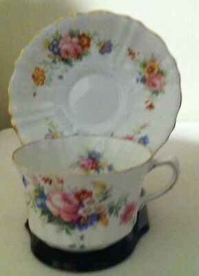 Spencer Stevenson Bone China Tea Cup & Saucer -England- white with mixed floral