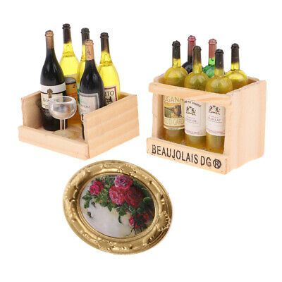2 Set Miniature Champagne Bottles With Magnet Box & Vintage Mural 1/12 Scale