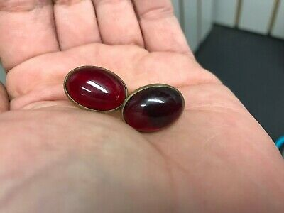 Antique Clear Red Cabochon Cuff Links Gold Plated? Men's Jewelry Glass