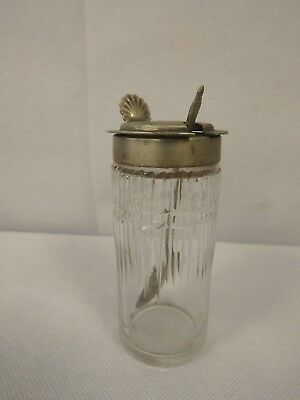 "ANTIQUE LIDDED GLASS JAR with EPNS Spoon. 3.75"" tall.  (CHA)"