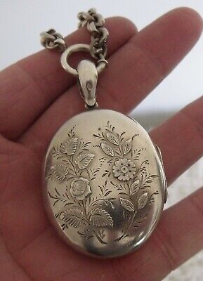 Antique Victorian Large Sterling Silver 1876 Locket And Chain.