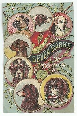 1880s Seven Barks 7 Dog Breeds Chromolithograph Victorian Trade Card Cut-out VTC