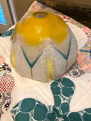 """Vintage Painted Frosted Glass Lamp Shade 7 1/4"""" ART DECO"""