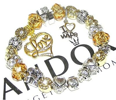 Authentic Pandora Bracelet Silver With WIFE, LOVE, GOLD & WHITE, European Charms
