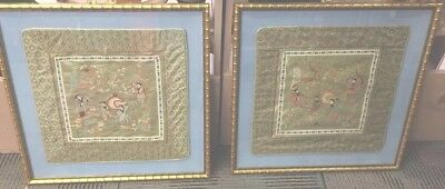 2 Vintage Embroidery Tapestries Tapestry On Chinese Silk In Gold Bamboo Frames