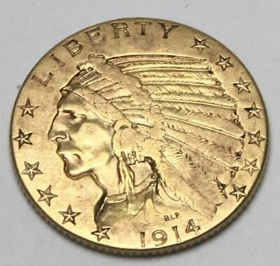 WOW 1914 U.S. $5 Indian Head/Eagle Half Gold Coin Real No Reserve Auction