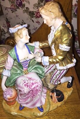 Antique German-Germany Rare Dresden Porcelain Figurine-Large Seated Lady And Man