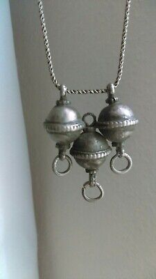 Antique persian jewelry, Old Silver pendant , Safavid_Qajar , with silver chain