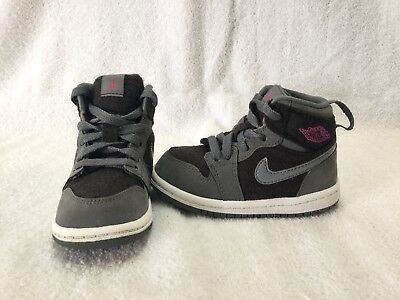 finest selection e7a8f cc645 Nike Air Jordan 1 Retro Toddler Girls Black vivid pink cool Grey Shoes~