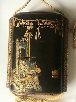 Antique KOAMI Signed Japanese Gold Lacquer Inro FIGURES and Well