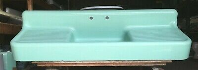 "Antique 80"" Cast Iron Ming Jadeite Green Porcelain Kitchen Farm Sink Vtg 52-19E"