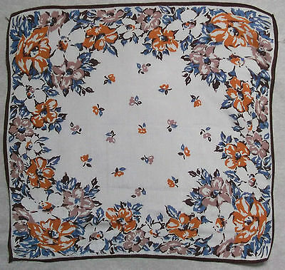 Vintage Handkerchief SILK Hankie Mens Top Pocket Square FLORAL FLOWERS