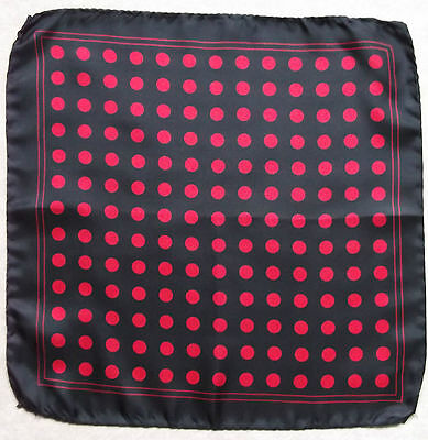 Vintage Handkerchief SILK Hankie Mens Top Pocket Square POLKA DOT SPOTS SPOTTY