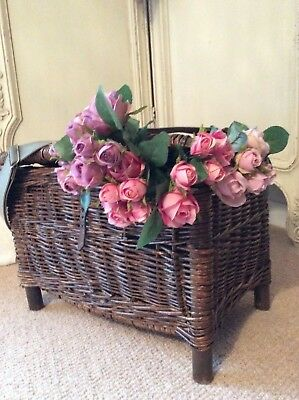 European Antique Creel Willow Fishing Basket~Lovely Hamper /Picnic Storage Chest
