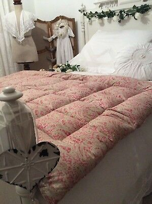 Divine Antique Eiderdown ~ Stunning Pink Paisley Quilt ~Plump Feather Bed Topper