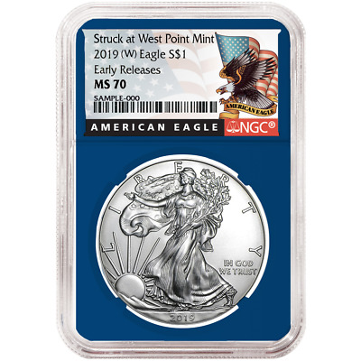 2019 (W) $1 American Silver Eagle NGC MS70 Black ER Label Blue Core