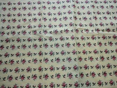 """Vintage 1970's Pink Floral Print Fabric 3 yds 35"""" Wide Quilting Sewing Crafting"""