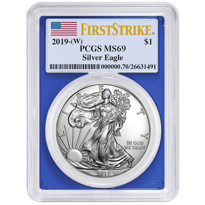 2019 (W) $1 American Silver Eagle PCGS MS69 First Strike Flag Label Blue Frame