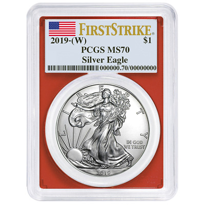 2019 (W) $1 American Silver Eagle PCGS MS70 First Strike Flag Label Red Frame