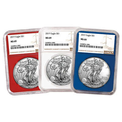 2019 $1 American Silver Eagle 3 pc. Set NGC MS69 Brown Label Red White Blue