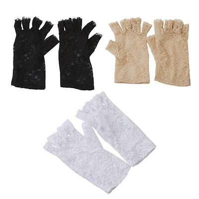 Women Lady Evening Bridal Wedding Party Dressy Lace Fingerless Gloves Mittens KE