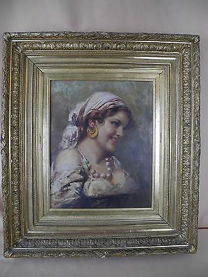 """Antique Oil Framed Painting Gypsy Woman Portrait Signed """"Muller"""""""