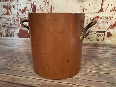Antique Vintage French Large Copper Stock Stew Saucepan Pan Soup Brass Handles