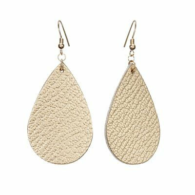 Handmade Gold Leather Earrings Boho Teardrop Dangle Ear Stud Womens Jewelry Gift
