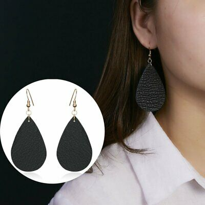 Boho Handmade Black Leather Earrings Teardrop Drop Dangle Ear Hook Jewelry Gifts