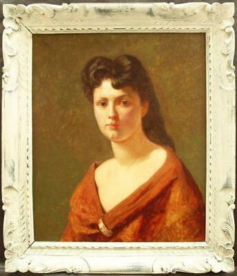 Early 20th CENTURY FRENCH PORTRAIT STUDY YOUNG LADY Antique Oil Painting