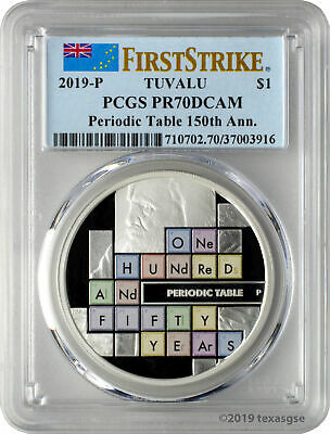 2019-P $1 Tuvalu Periodic Table 150th Ann. 1oz 9999 Silver Coin PCGS PR70DCAM FS