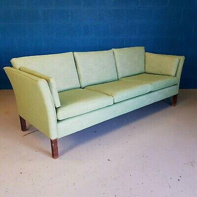 Retro Mid Century Danish Stouby Polster Møbelfabrik Green Three Seat Sofa