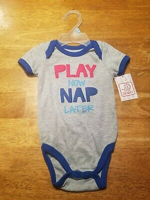 Nwt Infants Sz 6/9 Mos One Piece T-Shirt W/snaps Says Play Now Nap Later